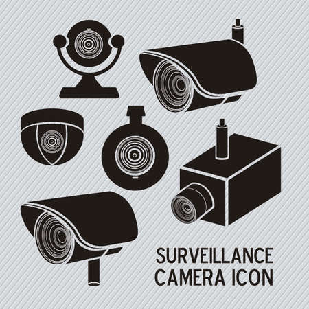 looking at camera: Illustration of security camera, security cameras icons, vector illustration Illustration