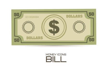 stack of dollar bill: illustration of money icons. Bill illustrations, vector illustration Illustration