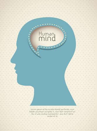 brain storm: Illustration of silhouette of man with text balloon, vector illustration Illustration