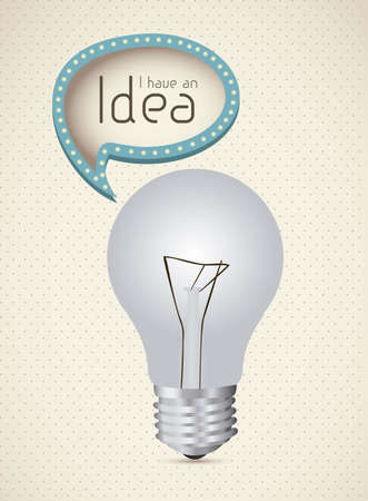 Illustration of bulb with text balloon, vector illustration Vector