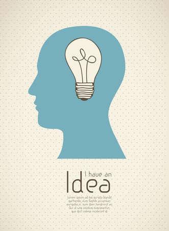 prodigy: Silhouette di uomo con la lampadina che rappresenta un'idea, illustrazione vettoriale