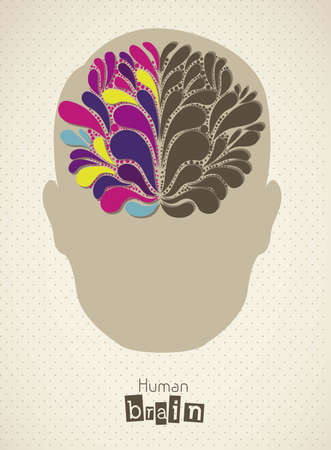 corpus: Illustration of silhouette of man with brain, vector illustration