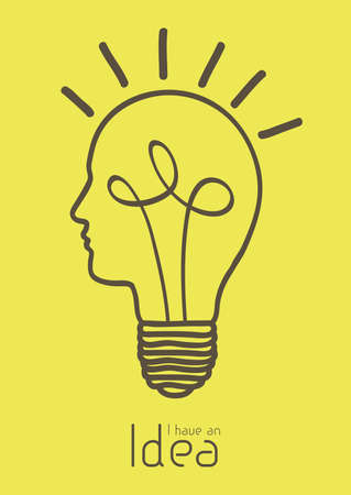 idea lamp: Illustration of bulb with silhouette human face, vector illustration
