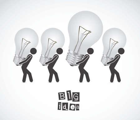 Illustration of cartoon light bulb, idea icon, vector illustration Vector