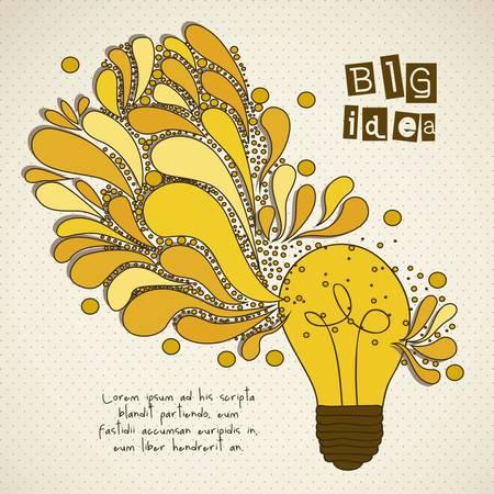 creare: bulbo che rappresenta un'idea, gocce wirh colorati, illustrazione vettoriale