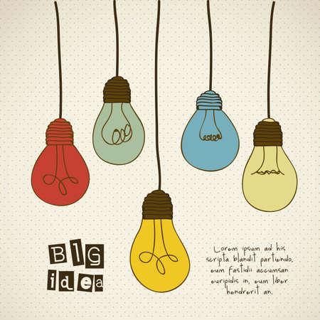 Dibujo de los tipos diferentes de bombillas de colores de época, ilustración vectorial