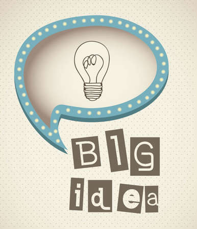 mind power: bulb representing an idea, with text balloon, vector illustration