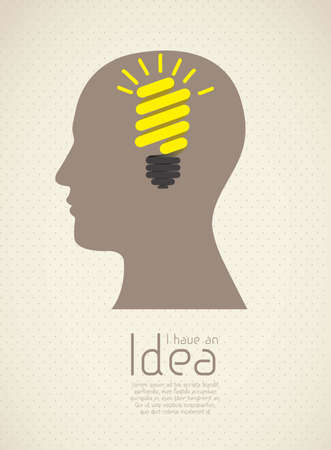 Silhouette of man with bulb representing an idea, vector illustration Stock Vector - 16819254