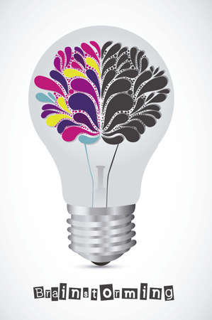 Illustration of bulb with human brain, vector illustration Vector