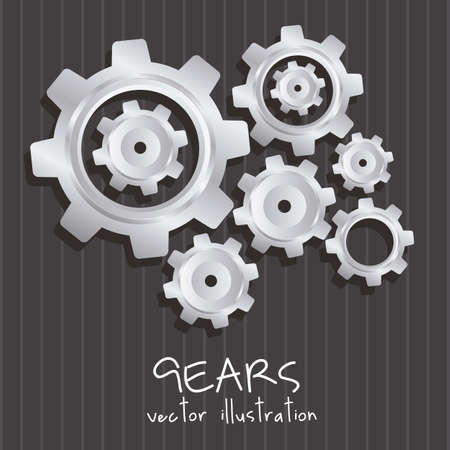 interlock: gear illustration metallic texture, lines background, vector illustration