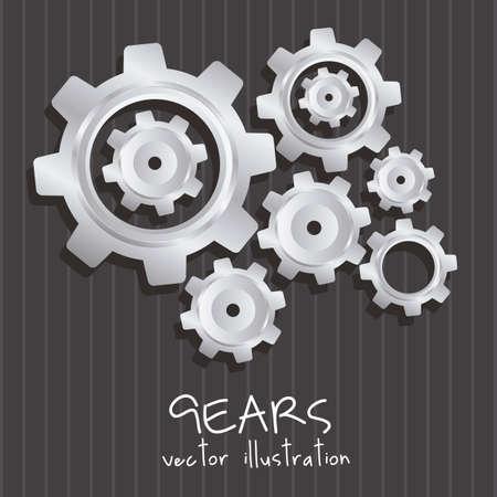 machined: gear illustration metallic texture, lines background, vector illustration