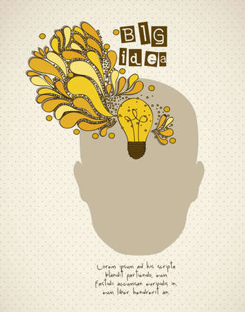 Silhouette of man with bulb representing an idea, vector illustration Ilustração