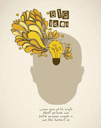 Silueta del hombre con la bombilla que representa una idea, ilustración vectorial Ilustración de vector