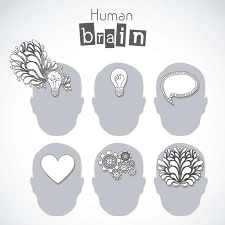 mind body: Illustration of silhouette of man with brain, bulb, heart and gears, vector illustration