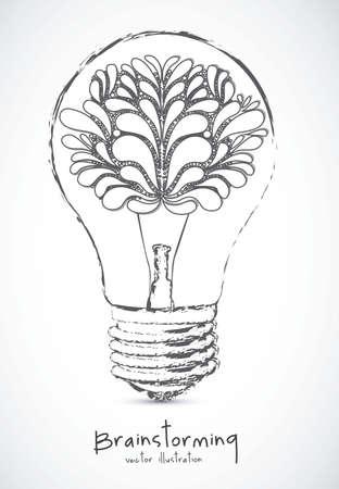 Illustration of bulb with human brain, vector illustration Illustration