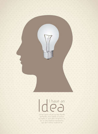 skulp: Silhouette of man with bulb representing an idea, vector illustration Illustration