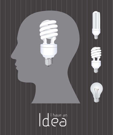 Silhouette of man with bulb representing an idea, vector illustration Stock Vector - 16818732