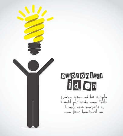 id�e lumineuse: Silhouette de l'homme avec ampoule repr�sente une id�e, illustration vectorielle