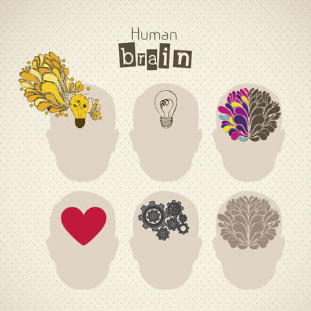 lamp power: Illustration of silhouette of man with brain, bulb, heart and gears, vector illustration