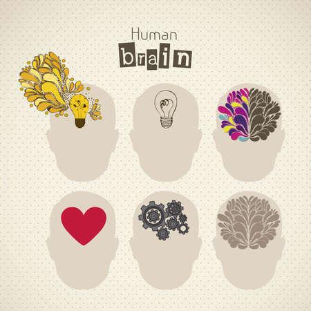 Ilustración de la silueta del hombre con el cerebro, el bulbo, el corazón y los engranajes, ilustración vectorial