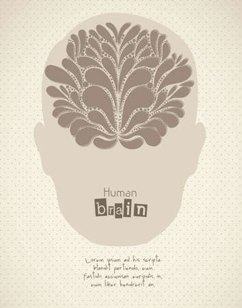 descriptive: Illustration of silhouette of man with brain, vector illustration