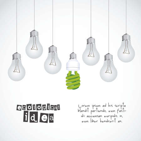 Illustration ecological, normal bulbs against energy saving bulbs, vector illustration Vector