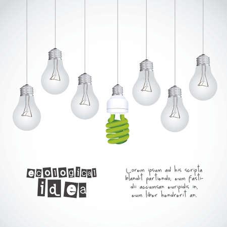 normal: Illustration ecological, normal bulbs against energy saving bulbs, vector illustration