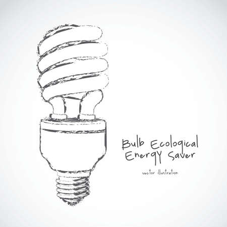 cartoon illustration of energy saving bulb, vector illustration Vector
