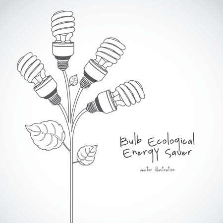 Plant producing energy saving bulbs, vector illustration Vector
