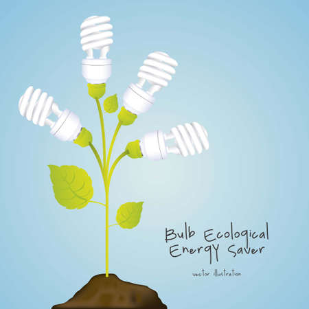 producing: Plant producing energy saving bulbs, vector illustration