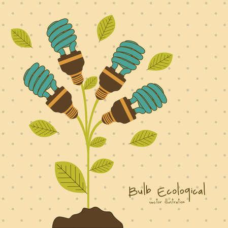 savings: Plant producing energy saving bulbs, vector illustration
