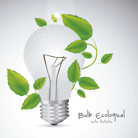 Illustration of bulb surrounded by plants and leaves, vector illustration Stock Vector - 16819393