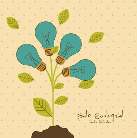 Illustration of bulb surrounded by plants and leaves, vector illustration Vector