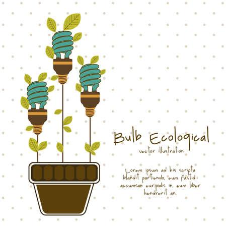 할로겐: 식물과 잎, 벡터 일러스트 레이 션으로 둘러싸인 에코 전구의 그림 일러스트