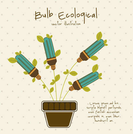 Illustration of eco bulb surrounded by plants and leaves, vector illustration Vector