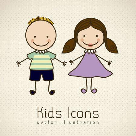 cute little boy: Illustration of kids icons, kids groups, vector illustration Illustration