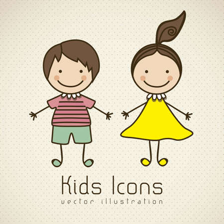 Illustration of kids icons, kids groups, vector illustration Illustration