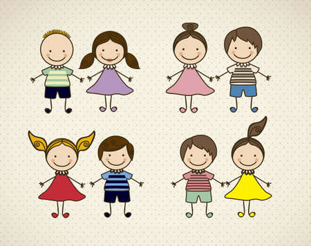 cartoon face: Illustration of kids icons, kids groups, vector illustration Illustration