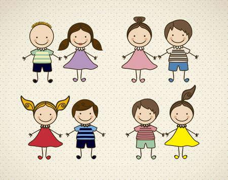 razas de personas: Ilustraci�n de los iconos de los ni�os, los grupos de ni�os, ilustraci�n vectorial