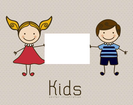 Illustration of kids icons, Holding a sign, kids groups, vector illustration Stock Vector - 16819181