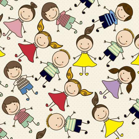 ethnicity happy: Illustration of pattern of kids icons, kids groups, vector illustration