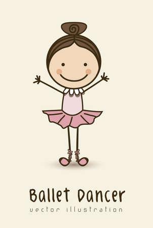ballet dancer: Illustration of ballet dancer, kids groups, vector illustration Illustration