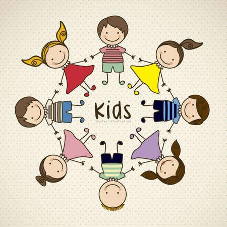 ethnicity happy: Illustration of kids icons, kids groups, vector illustration Illustration