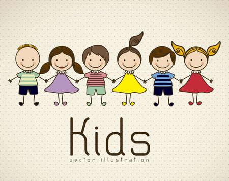 lijntekening: Illustratie van jonge geitjes pictogrammen, kinderen groepen, vector illustratie