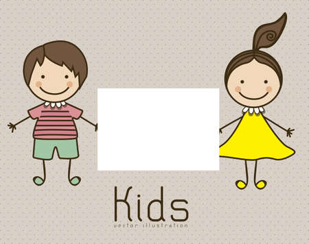 Illustration of kids icons, Holding a sign, kids groups, vector illustration Vector