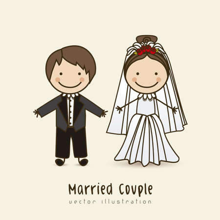 Illustration of wedding couple with wedding dress, vector illustration Stock Vector - 16818880