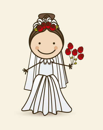Illustration of bride in wedding dress, vector illustration Vector