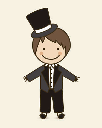 Illustration of groom wedding suit, vector illustration Vector