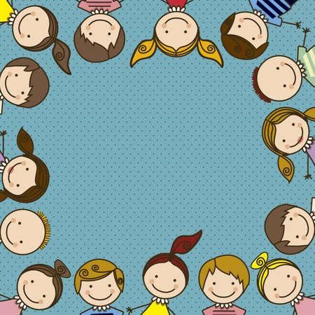 cool girl: Illustration of kids icons, kids groups, vector illustration Illustration