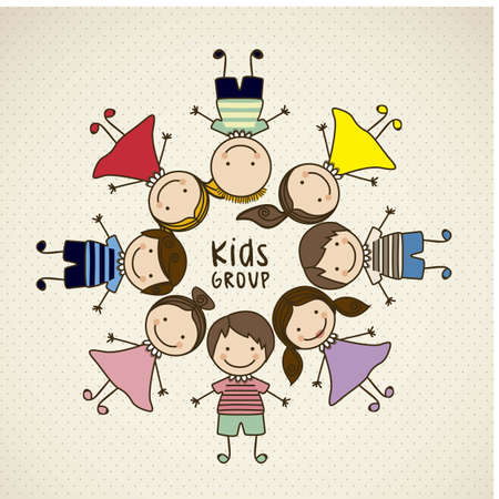 cartoon board: Illustration of kids icons, kids groups, vector illustration Illustration